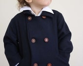 Boys Nautical Anchor Sailor Double Breasted Pea Coat- Navy Blue Wool