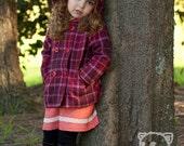 Girls Pink Tartan Hoodie Double Breasted Pea Coat Jacket