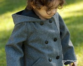 Boys Handmade Ash Gray Hoodie Jacket Pea Coat sz3