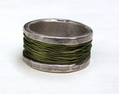 Recycled silver sterling with Green wire metal Silver ring made to order
