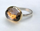 Brown Smoky quartz Gold ring -Recycled Silver and 14k Yellow Gold