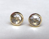 Similar diamond stone-  White Topaz earrings Recycled 14k Gold earrings Gold studs  earrings  5mm