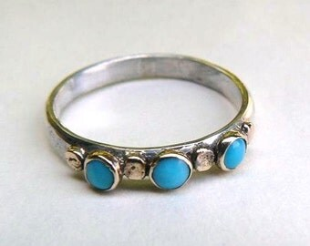 Blue Turquoise Ring, silver sterling ring, 14k Gold  ring ,Stacking ring ,Mom gift, birthday gift for he, MADE TO ORDER, blue stone,
