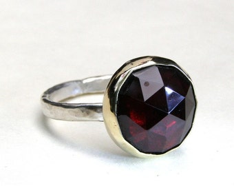 Red Garnet ring, Gemstone silver ring, valentines day gift, Gold ring, Statement ring ,Cocktail ring MADE TO ORDER, gift for her, gift ideas