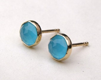 Gold solid Studs, Gold earrings ,Blue Quartz  Recycled 14k  Gold earrings gold post Earrings- 8mm