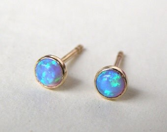 Opal Studs, Stud Earrings, Opal Errings, Solid gold earrings, gift ideas, anniversary gift, valentines day gift, 14k gold earrings,  3mm