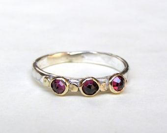Stacking ring ,Red  garnet ring, Birthstone ring ,Gemstone Red Garnet Ring - Gold and Silver ring, garnet ring, gift for her, teacher gift,