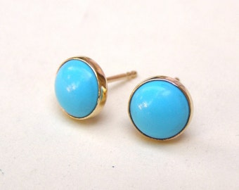 Gold Stud, 14k gold earrings ,Turquoise Earrings ,Recycled 14k yellow Gold post earrings 6mm