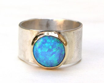 Statement ring, Blue Opal Ring, Silver Ring , 14k Gold Ring , Cocktail ring, Opal Ring, Anniversary ring, Solitaire ring, Gift for her