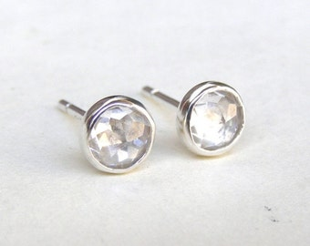 Silver Studs,Silver earrings Similar diamond earrings wedding earrings - Fine Silver Earrings with White Topaz earrings   6mm