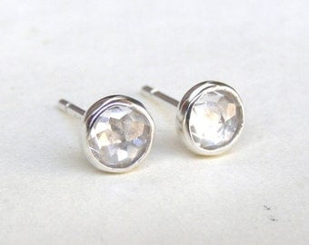 Silver Studs,Silver earrings Similar diamond earrings wedding earrings - Fine Silver Earrings with White Topaz earrings   5mm