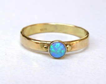 14K Solid Gold Ring, Opal Engagement Ring, Alternative Engagement Ring, Blue opal Ring, Wedding Ring, Unique Engagement Ring, Promise Rings