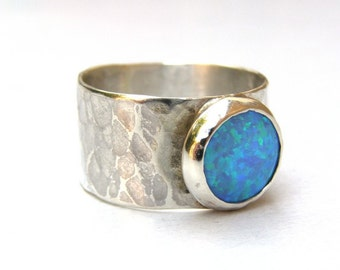 Blue Opal ring ,Band Silver ring, Gemstone ring, Birthstone opal, October stone, statement ring, gift for her, birthday gift, soliter ring