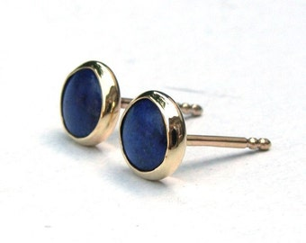 14k Gold earrings Lapis lazuli,Stud Earrings, Clip On Earrings, Cluster Earrings,  gold Studs 14k solid Gold Earrings blue stone 6mm