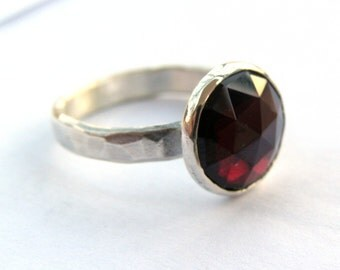 Garnet ring, silver ring, red stone ring, birthstone ring, Sale Holidays ring,  - made to order, girl's ring, gift idea