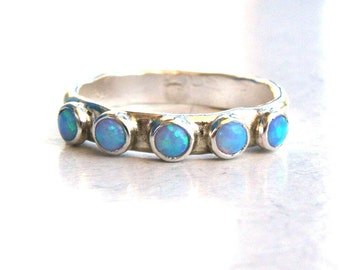 Blue Opal ,stacking ring,gemstone fine silver sterling ring, cocktail ring, handmade engagement ring, Birthstone ring, gift for her