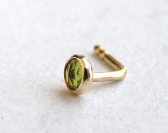 Nose Ring - Nose stud - 14k solid gold nose ring peridot nose ring