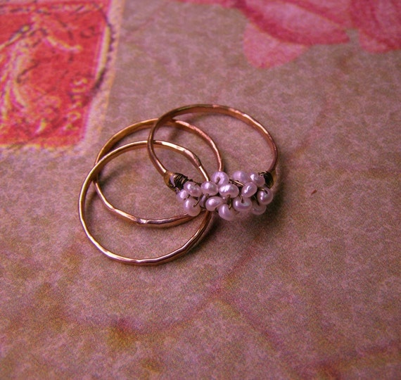 Pearl and goldfild  3 ring