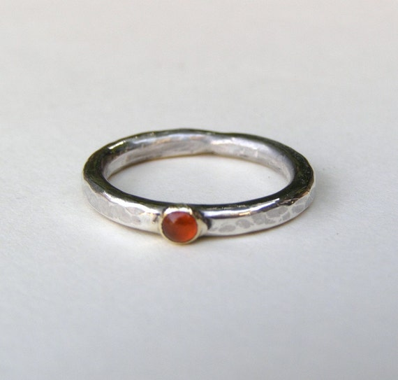 Orange Carnelian  ring  gold and silver ring size 5.5