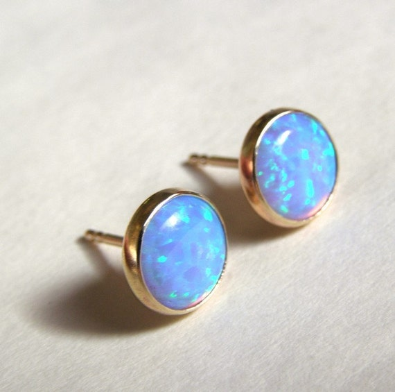 Blue Opal Stones Studs in Recycled 14k yellow Gold
