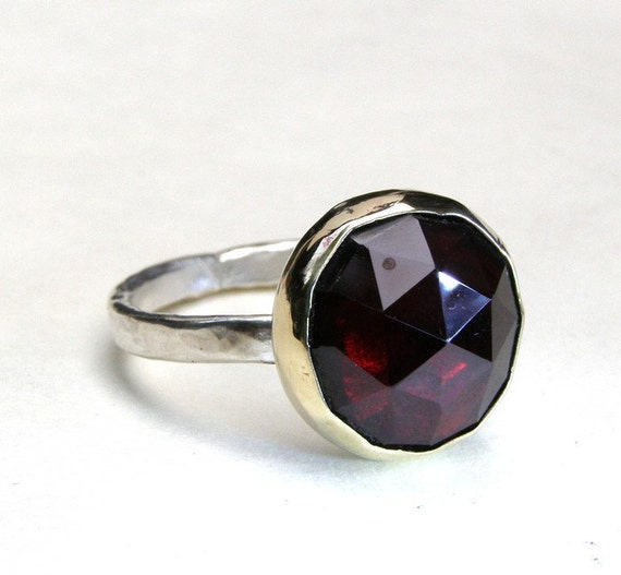 Garnet ring - Recycled Silver ring 14k Yellow Gold ring  MADE TO ORDER