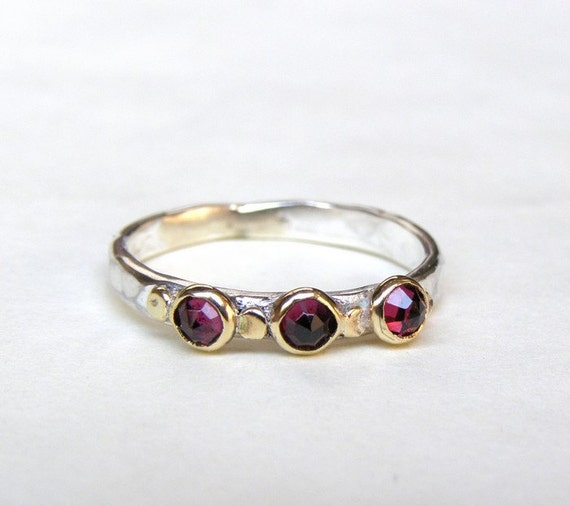 Red Garnet Ring - Gold and Silver MADE TO ORDER