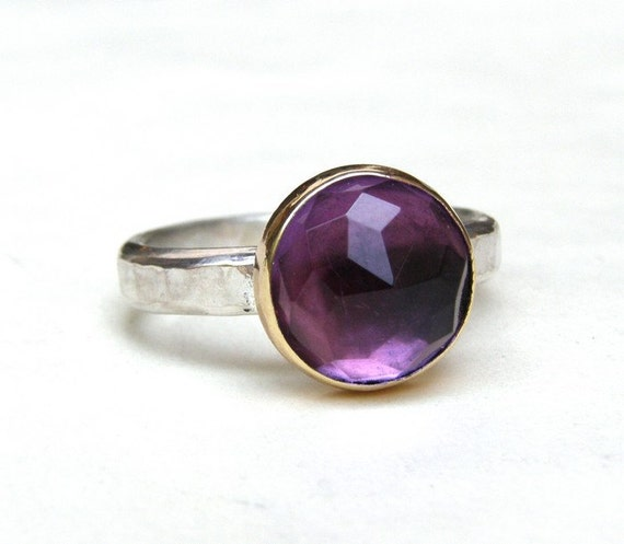 Amethyst  ring 14k Yellow Gold ring with purple Amethyst  ring Made to order