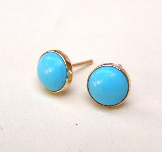 Turquoise Earrings Gold Stud earrings Gold earrings  Recycled 14k yellow Gold post Turquoise stone