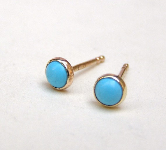 Turquoise earrings gold Stud earring in Recycled 14k yellow Gold post Earrings 4mm
