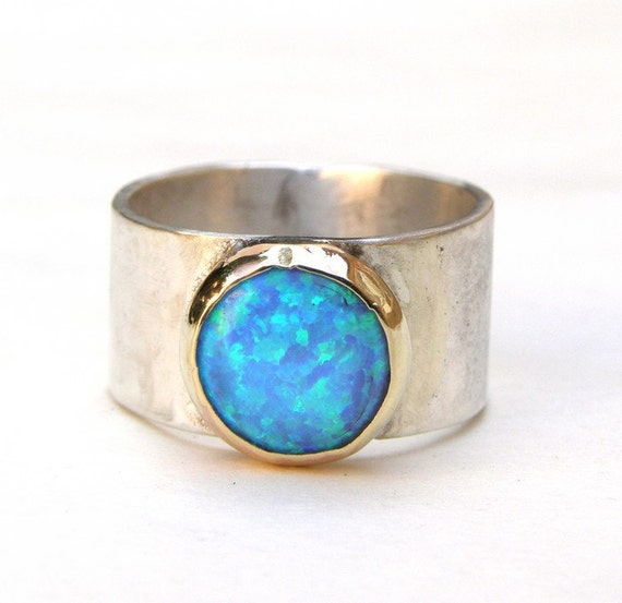 Opal Ring - Recycled Silver Ring and 14k Gold Ring MADE TO OTDER