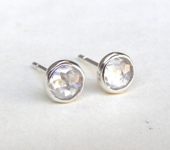 Stud earrings Similar diamond earrings - Tiny silver stud Silver Earrings with White Topaz earrings   5mm