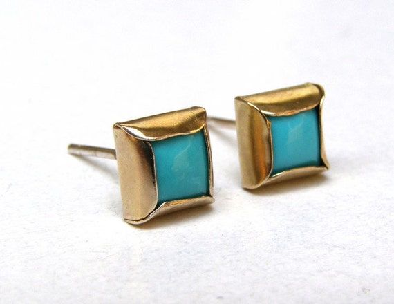 SALE -  Blue Turquoise Earrings Studs in Recycled 14k yellow Gold