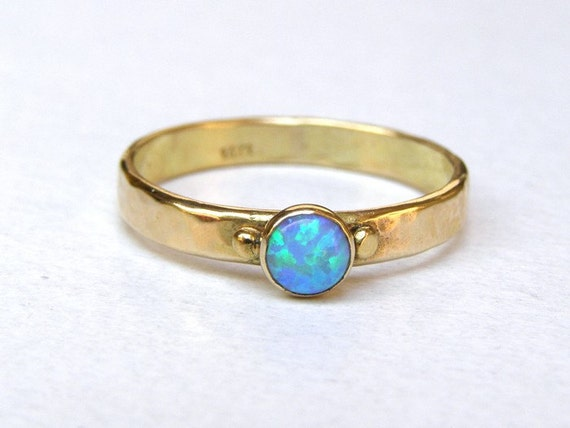 Goldring ehering  14 K Solid Gold Ring Opal Verlobungsring Alternative