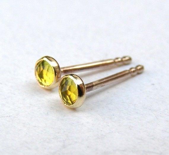 Peridot Earrings gold Stud Errings  Recycled 14k yellow Gold post Earrings