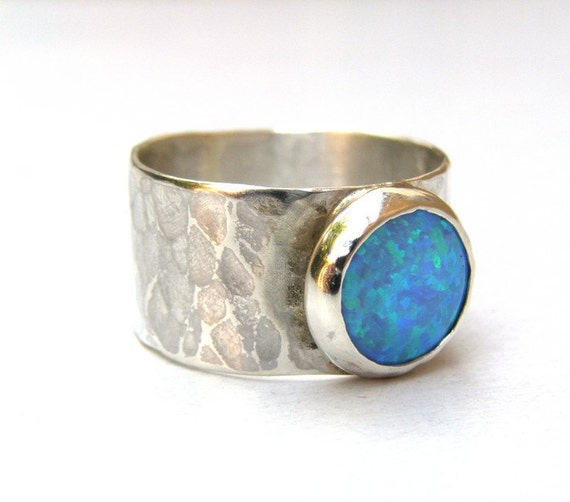 RING Opal ring 925 silver ring with blue Opal stone made to order