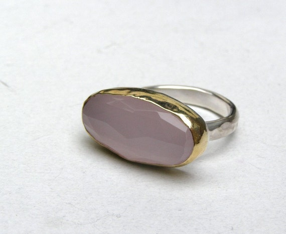 Rose quartz Gold Ring- Silver and 14k Gold  ring made to order