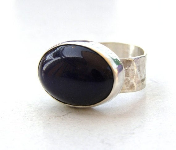 Jade ring silver ring Purple stone 13x18 mm oval cabochons made to order
