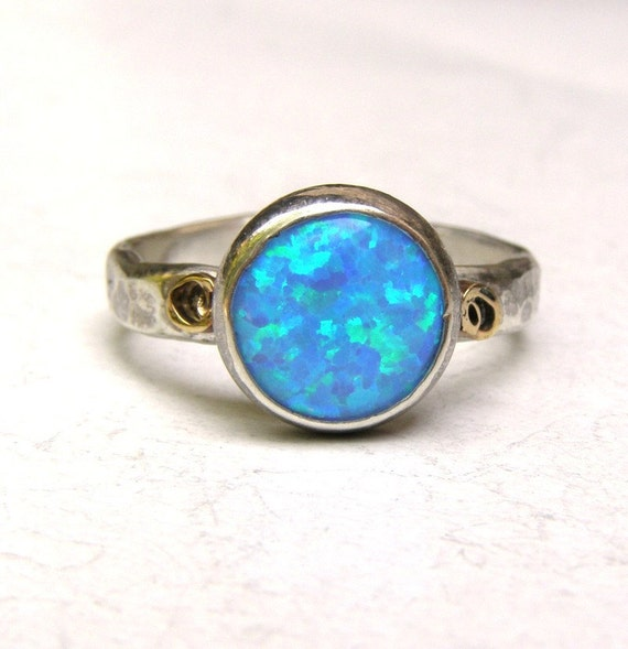 Engagement Ring -opal ring silver ring  - Recycled silver sterling ring Size 7.5