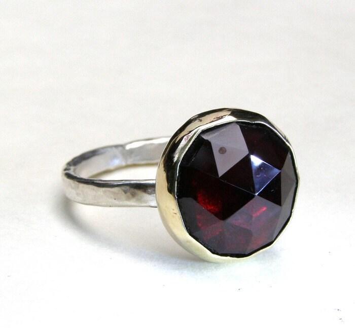 solitaire garnet ring gemstone silver ring valentines