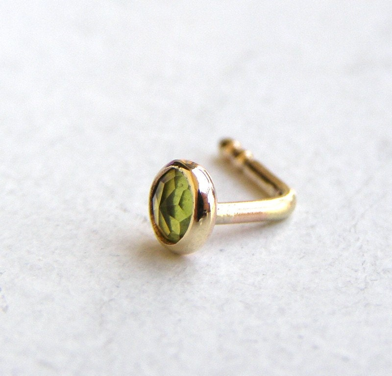 nose ring nose stud 14k solid gold nose ring peridot nose