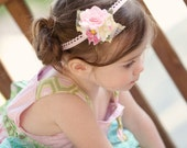 "Kids Felt Flower Headband ""Across the Pond"" with daisy and millinery flower centers and pink velvet bow"