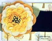 "Felt Flower Headband - ""Honeysuckle"" with yellow sequin flower center"