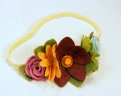 "Felt Flower Headband - Garland Flowers ""May Flowers"" with daisy hand sewn centers and roses on a skinny band"