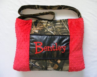 Red Minky Dot with Camouflage Diaper Bags or Bag