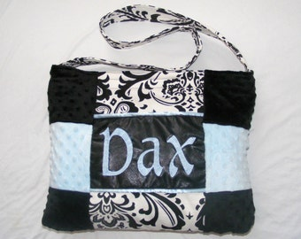 Large Black and White Damask Light Blue Minky Dot Baby Diaper Bags Monogrammed