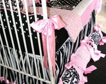 Gorgeous Baby Bedding set Light Pink Rose Cuddle polka dots black n white damask Stripes bubble gum pink Kona cotton soft high quality chic