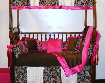 Baby Girl Bedding Chocolate Brown Minky Dot Brown Nature Premier and Hot Pink Fuchsia Minky