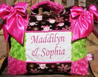 Skulls Cross Bones Hearts Flowers Hot Pink Bright Lime Green Chocolate Brown Diaper Bag