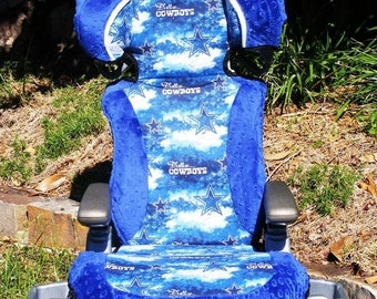 Reupholstered Dallas Cowboy Car Seat Cover Custom Made Dark Blue Minky Dot Boy