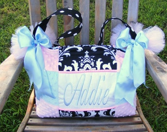 Light Blue n Pink Girl Diaper Bag Black n White Damask Polka Dot Poofy Tutu bows Beautiful Handmade custom quality insulated bottle pockets